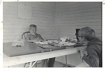 Tim in Monona Selling Potholders